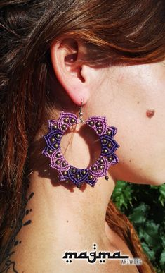 Items similar to macrame earrings flower of life, hippie, nature, brass on Etsy Macrame Rings, Macrame Bag, Macrame Necklace, Macrame Knots, Macrame Jewelry, Macrame Bracelets, Diy Jewelry, Jewellery, Card Weaving