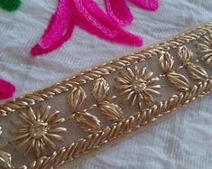 Indian Net Base Laces and Trim By The Yard, Gold Embroidered Trim, Sari Border, Indian Trims, Fashion trim tape Fabric Trim NFT407
