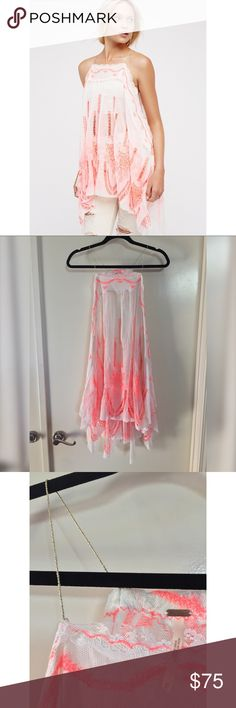 ✨ Free People Lace Tunic ✨ Worn once, excellent condition! This gorgeous lace tunic can be layered over a slip, tank, bra etc. for a variety of different looks. Unique gold tie details on either side and neckline.   Smoke/Pet Free household & all items steam cleaned before shipping! ❤️ xo Free People Tops Tunics