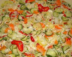 Csalamádé recept II   Varga Gábor (ApróSéf) receptje - Cookpad receptek Guacamole, Pasta Salad, Pickles, Potato Salad, Sausage, Vitamins, Picnic, Appetizers, Stuffed Peppers