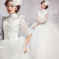 韓国風プリンセス風ウェディングドレス結婚式二次会sweet