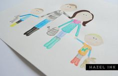 Custom Watercolour Portrait up to 4 people by hazelinkshop on Etsy, $40.00