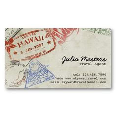 Passport Stamps - Style 2 Travel Agent, Business Cards