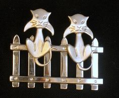 Vintage Signed Beau Sterling Cats on a Fence Brooch