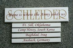 """""""Home is where the Army sends you ..."""" with duty stations listed below."""