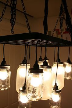 17. Mason jar light....would look cool in kitchen
