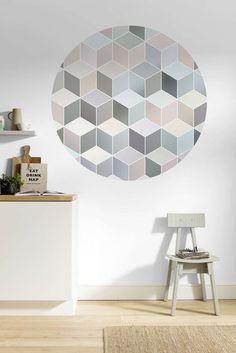 Komar Dots Pastel Deluxe D1-012 - Fotobehangkoopjes.nl Cubes, Teintes Pastel, Wall Murals, Wall Art, Cube Design, Piece A Vivre, Wallpaper Paste, Pastel Shades, Abstract Shapes
