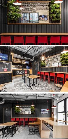 We often see corrugated steel being used on the exterior of houses, but as part of the design for this restaurant, black corrugated steel was brought inside, and used on the interior walls of this burger restaurant. Interior Design Trends, Restaurant Interior Design, Cafe Interior, Interior Walls, Restaurant Exterior, Industrial Restaurant Design, Cafe Industrial, Industrial Interiors, Industrial Lighting