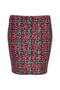 Red tartan animal print mini tube skirt by River Island :: Clozette Shoppe  http://shoppe.clozette.co/product/RiverIsland-654857/red-tartan-animal-print-mini-tube-skirt