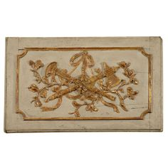 View this item and discover similar for sale at - An century over-door wood panel, with carved gilt decoration in the central field, bordered by a raised gilt border on a pale blue-grey ground. Wood Panel Walls, Wood Paneling, Decorative Wall Panels, Decorative Boxes, Grey And Gold, Blue Grey, Flower Decorations, Wall Decorations, Trumeau Mirror