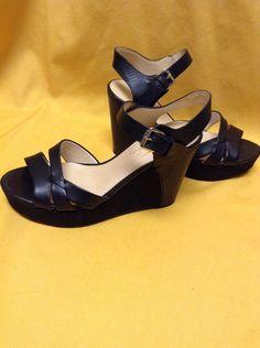 04f19a66a4376 Marc Fisher Women s Black Leather Slingback Platform Wedge Sandals Sz 8.5  EUC  MarcFisher  PlatformsWedges
