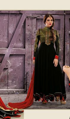 Black Faux Georgette Long Length Anarkali Suit