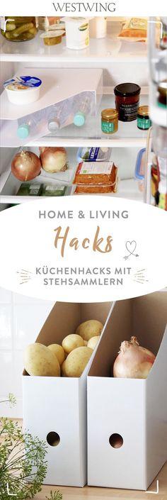 Kitchen hacks with standing collectors Stauraum Schaffen Home Decor Kitchen, Diy Kitchen, Kitchen Storage, Storage Stool, Interiors Online, Kitchen Colors, Home And Living, Decoration, Kitchen Remodel