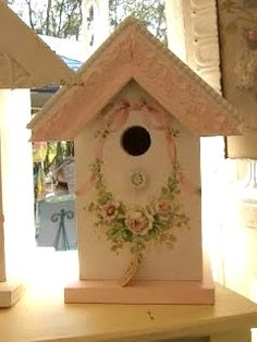 Christie Repasy Designs Home Page Bird Houses Painted, Coming Up Roses, Bird Cages, Romantic Homes, Shabby Cottage, Little Houses, Bird Feathers, House Painting, Beautiful Birds
