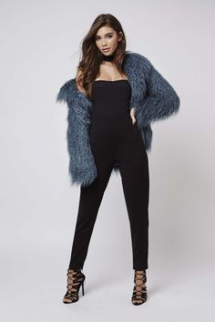 Take your style cues from Kendall and Kylie and style Mongolian faux fur coats with jumpsuits and party dresses to add a touch of LA glamour to your outfit. #Topshop