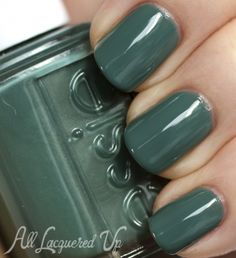 """Essie Fall 2013 """"For The Twill of It"""" Nail Polish Swatches //  Essie Vested Interest is a greyed teal creme. To me, it's the blue version of Essie Sew Psyched and sure to be a big hit this fall.  Got It!"""