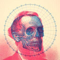 skull, by Mark Weaver #illustration #drawing #painting #colors #pink #blue #skull #Lincoln #MarkWeaver