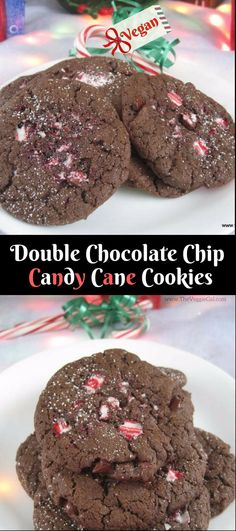 YUM vegan double chocolate chip candy cane cookies. WFPB & oil free options.