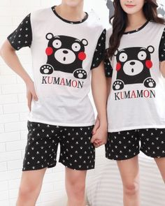 CC01631 Lovely summer cartoon short sleeve pajamas 2pcs set Couple Clothes, Couple Outfits, Cheap Clothes, Summer Cartoon, Pajamas, Sleeves, T Shirt, Kumamon, Pjs