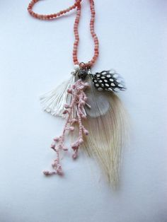 Boho chic charm necklace in blush!