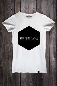 """T-shirt """"Made in France"""" dessiné, confectionné et sérigraphié en France. Disponible sur www.frenchappeal.com, pour femme ou homme, en blanc ou marine."""