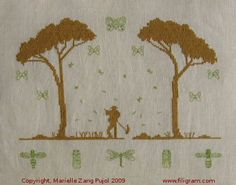 Filigram - Under the Pine Tree 153 x 114 stitch count  Cross stitch – back stitch – french knot Color code: DMC and The Gentle Art – 2 colors Fabric suggestions: Undyed linen or Vanilla
