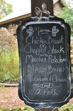 Rustic Wedding chalkboard serving tray menu