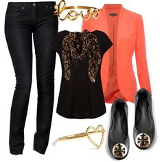 Orange and Leopard :) this is gorgeous! I love the orange blazer, it just sets the outfit off!! Super cute