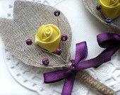 Yellow Flower burlap Boutonniere (buttonhole)-Yellow  Purple