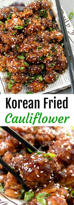 Korean Fried Cauliflower. A fun vegetarian twist on Korean-style fried chicken. Super crunchy cauliflower is coated in a flavorful soy garlic glaze.