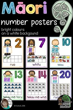 A beautiful set of Maori number posters 0 to 20 perfect for kiwi classrooms (Maori and English medium classrooms alike). This resource has bright pictures and text that pop off a white background. Teaching Materials, Teaching Resources, Number Posters, Bright Pictures, Maori Art, Classroom Environment, Sight Words, Primary School, Child Development