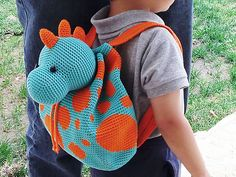 Practice tapestry crochet to make the dino print and form the bag. Then make the dino's head that will work as a lid and adds the fun touch to the design. The backpack straps can be crocheted for 3-6 year old kids (little boy in the picture is 3 years old). Backpack is one size only.