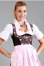 3tlg. Dirndl Gaensebluemchen schwarz rosa mit Bluse und Schuerze