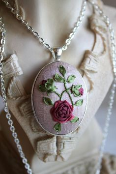 Hand Embroidered Silk Ribbon Pendant Necklace - Red Rose. 32.00, via Etsy.