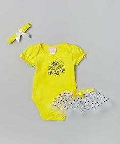 Yellow 'Bee-Utiful' Bodysuit Set