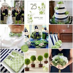 navy and green wedding theme