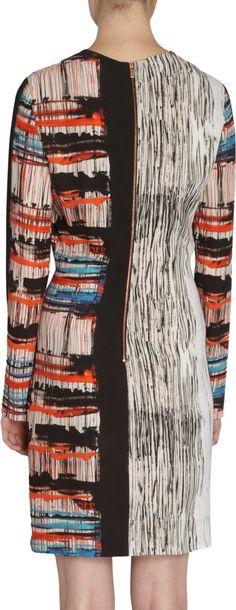 Cedric Charlier Long Sleeve Streak Print Dress