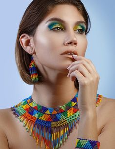3 Piece Jewelry Set, Native American Style Beaded Necklace with Earrings & Bracelet, Tribal High Fashion Jewelry, Seed Bead Jewelry - Cosas para comprar - Seed Bead Jewelry, Boho Jewelry, Jewelry Sets, Seed Beads, Beaded Jewelry, Fashion Jewelry, Beaded Necklace, High Jewelry, Jewellery