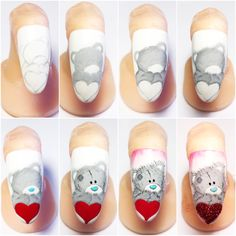 Step by step wykonany przez Judytę Szwedę Cartoon Nail Designs, Nail Art Designs, Nailart, Nail Time, Cat Nails, Disney Nails, New Nail Art, Step By Step Painting, Christmas Paintings