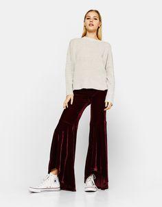 Velvet bell bottom trousers