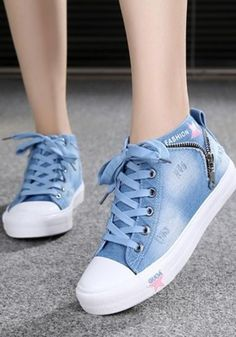 Light Blue Round Toe Flat Lace-up Canvas Casual Shoes Light blue round lace canvas lace-up shoes Moda Sneakers, Sneakers Mode, Sneakers Fashion, Fashion Shoes, Leather Fashion, Denim Shoes, Women's Shoes, Shoe Boots, Shoes Sneakers
