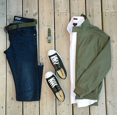 Green Means Go Grid by @mikeswatches 🔽 🔽 Follow 👉 @stylishgridgame 👈 🔽 🔽 Brands ⤵ 🔹Jacket: @benshermanofficial 🔹Shirt: @jcrewmens 🔹Jeans: @uniqlo 🔹Shoes: @converse 🔹Watch + Strap: @rolex + @crownandbuckle 🔹Belt: @thetiebar