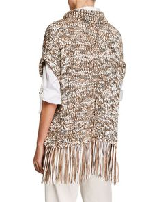 Brunello Cucinelli Dry Cotton Fringe Turtleneck Poncho and Matching Items Poncho Sweater, Knitted Poncho, Cashmere Turtleneck, Line Jackets, Brunello Cucinelli, Knitwear, Turtle Neck, Bergdorf Goodman, Knitting