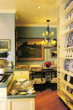 Charlotte Moss - Kitchen and Breakfast Room in Green, Yellow, and Blue & White / Picture of Elegance Blog