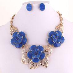 Royal Blue Acrylic Flower Rhinestone Accent Necklace Earring Set Fashion Jewelry #FashionJewelry