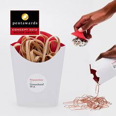 Conceptual packaging PD. Lovely idea to package rubber bands in chip boxes. This design makes you look and then look again to see just what it is.