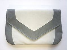 Baby Blue and White Kangaroo Leather Envelope Clutch $90.00