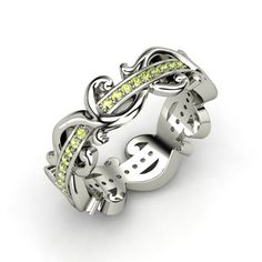 Sterling Silver Ring with Peridot - Atlantis Eternity Band....for the month we got married.
