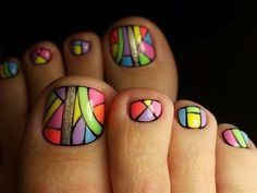 Colorful Toe Nails With Gold Glitter Accent Are you searching for some fresh toe nail That is great because we have many new nail art ideas for your toes to offer And do. Toe Nail Color, Toe Nail Art, Nail Colors, Gold Toe Nails, My Nails, Feet Nails, Toenail Art Designs, Pedicure Designs, Pedicure Nail Art