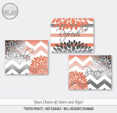 Bathroom Art Prints Relax Rejuvenate Refresh Geometric Flower Set of (3) 5x7, 8x10 or 11x14 // Grey Coral Bathroom Decor - Unframed